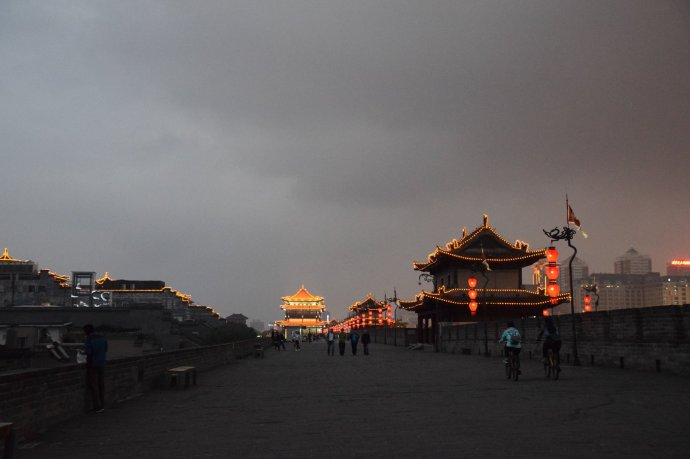 Approaching the Yongning Gate on the southern portion of Xi'an's city wall as dusk falls.