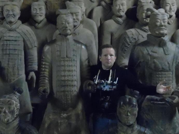 Another selfie of me in the gift shop at the archaeological site containing the terracotta army in Xi'an.