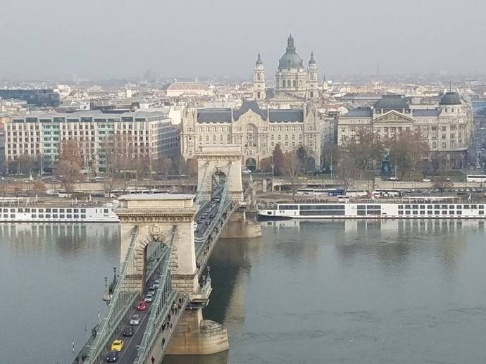 Gazing across the Danube, and the Széchenyi Chain Bridge, towards Buda.