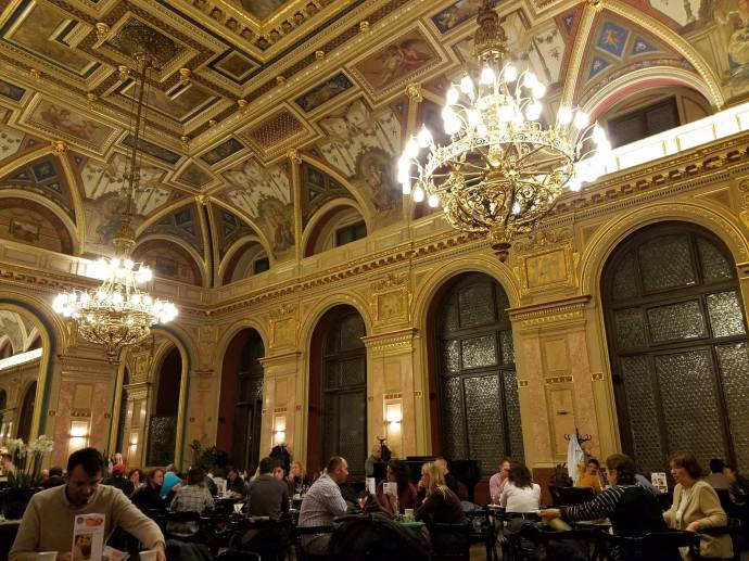 The Book Café in Budapest has a ceiling of jaw-dropping beauty.